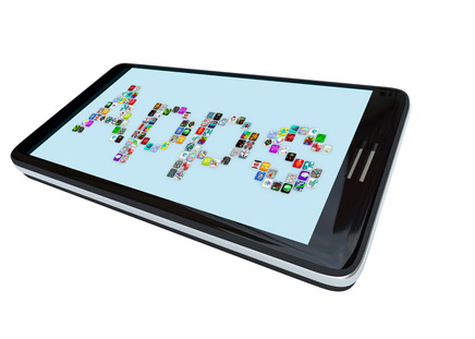 The word Apps spelled in app tile icons on a  modern black smart phone